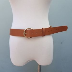 C Shape Buckle 2X Faux Leather Belt Tan Plus Size